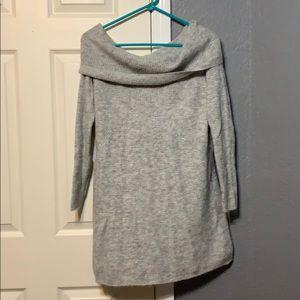 Grey turtleneck sweater dress
